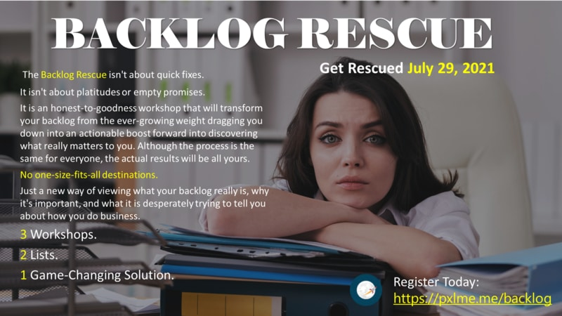 If you are like me, you struggle with an ever growing list of follow up tasks and action items. I have tried using numerous different task management applications, I have tried calendar blocking, I even tried wishing on a star. On July 29th The Backlog Rescue Workshop gets started and we have a special group price for QBCL Members. To learn more, visit https://pxlme.me/backlog